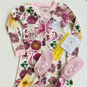 NWT Burt's Bees onesie floral sleeper (22M)